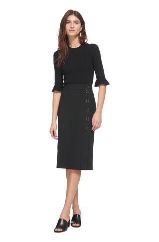 Popper Pencil Skirt, in Black on Whistles