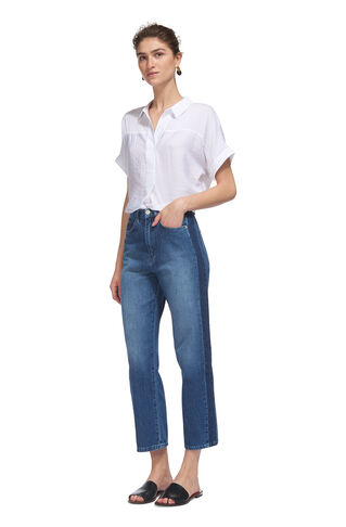 Side Stripe Wide Leg Jean, in Dark Denim on Whistles