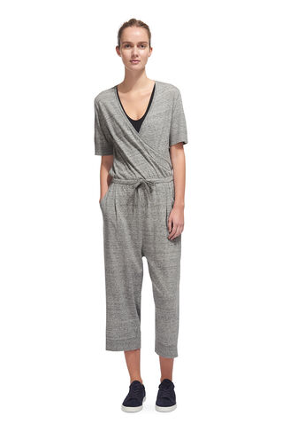 Rib Detail Cropped Jumpsuit, in Grey Marl on Whistles