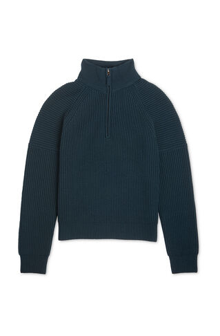 Zip Through Rib Knit Sweater, in Dark Green on Whistles