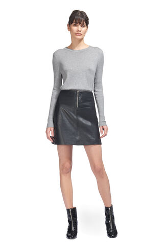 Zip Cuff Crew Neck Knit, in Grey Marl on Whistles