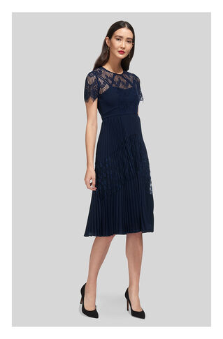 Bianca Lace Pleated Dress, in Navy on Whistles