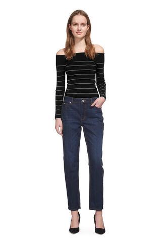 Fine Stripe Bardot Knit, in Black on Whistles