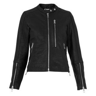 Drew Collarless Leather Biker, in Black on Whistles