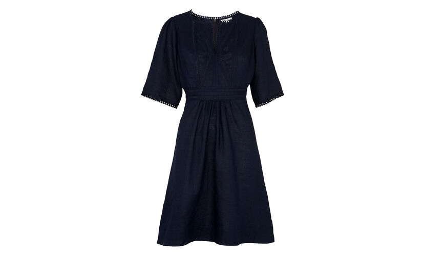 Loma Embroidered Dress, in Navy on Whistles
