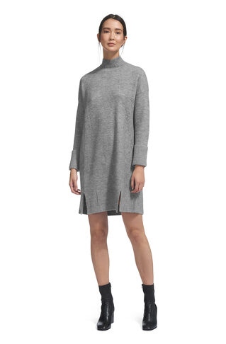 Funnel Neck Casual Knit Dress, in Grey Marl on Whistles
