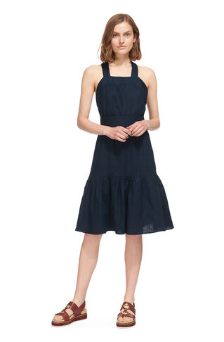 Cross Back Linen Dress, in Navy on Whistles
