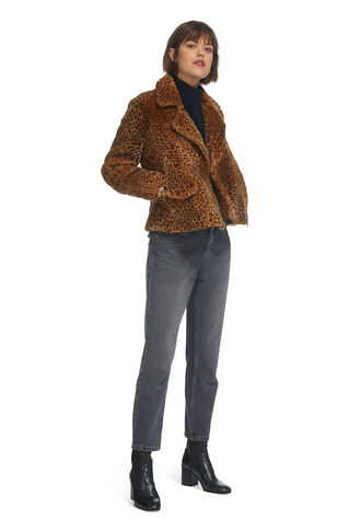 Leopard Shearling Agnes Biker, in Leopard Print on Whistles