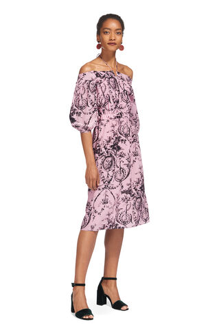 Effie Cold Shoulder Silk Dress, in Pink/Multi on Whistles