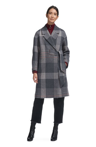 Check Magdelina Belted Coat, in Grey/Multi on Whistles