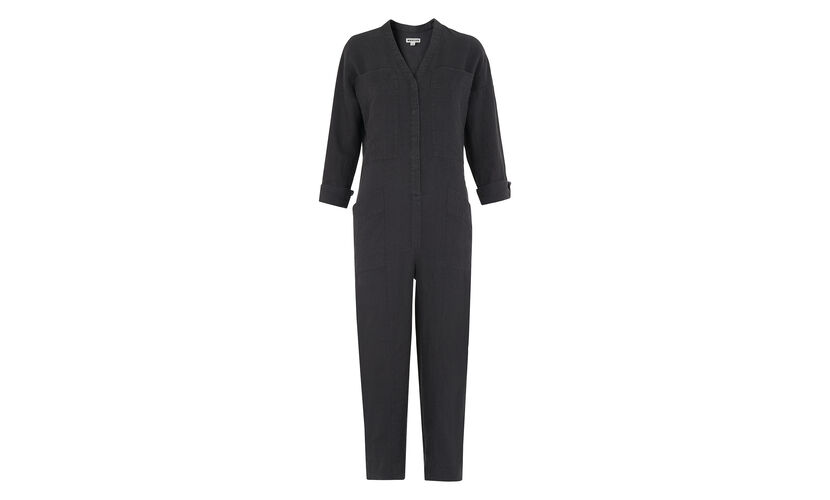 Washed Linen Jumpsuit, in Grey on Whistles