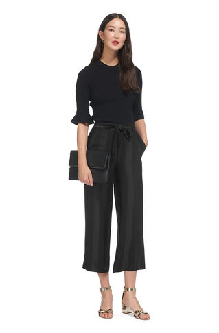 Satin Stripe Crop Trousers, in Black on Whistles