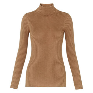 Rib Roll Neck, in Camel on Whistles