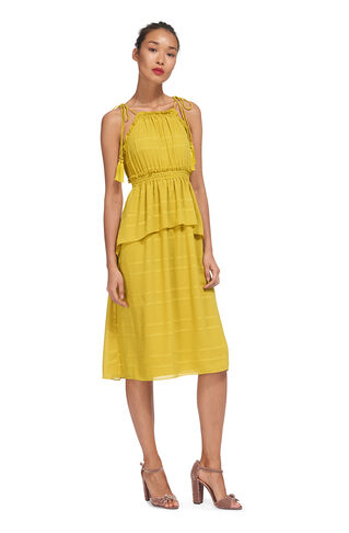 Textured Ruffle Tie Dress, in Yellow on Whistles