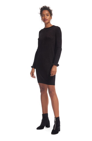 Frill Cuff Sparkle Knit Dress, in Black on Whistles