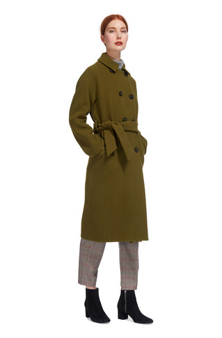 Alicia Belted Coat, in Olive on Whistles