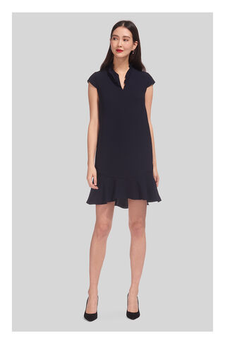 Federica Frill V-Neck Dress, in Navy on Whistles