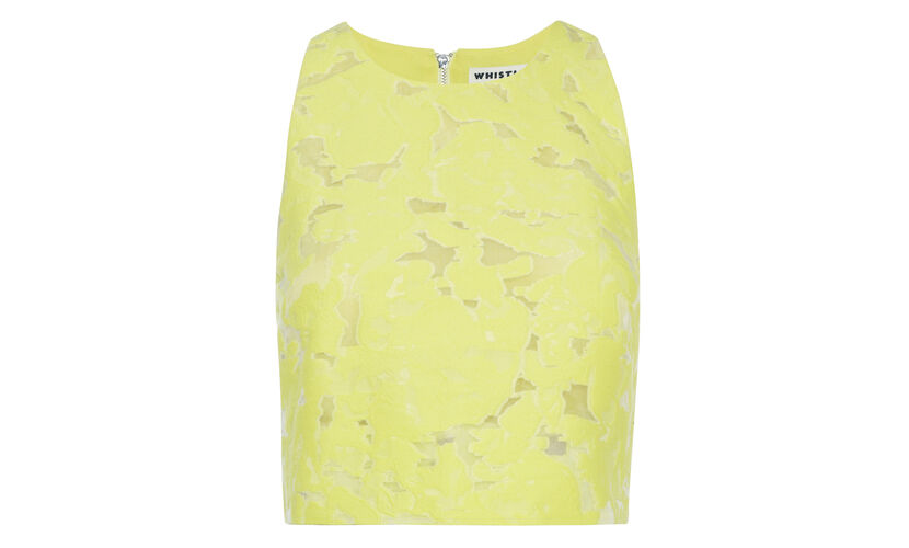 Leanora Burnout Crop Top, in Yellow on Whistles