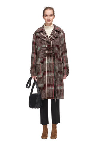 Jerry Belted Check Coat, in Red on Whistles