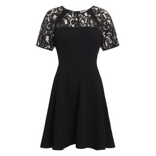 Jude Raglan Lace Insert Dress, in Black on Whistles