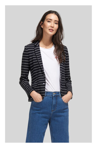 Stripe Jersey Jacket, in Navy on Whistles