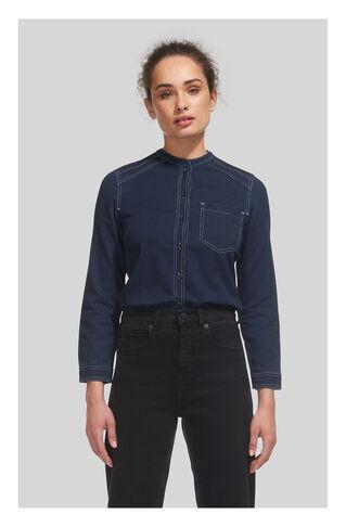 Stitch Detail Denim Shirt, in Dark Denim on Whistles