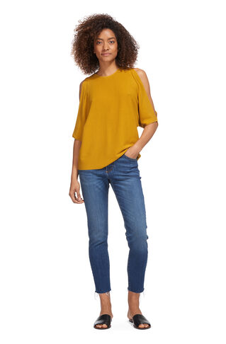 Split Shoulder Fine Knit Tee, in Yellow on Whistles