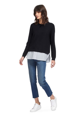 Linen Stripe Hem Sweater, in Navy on Whistles