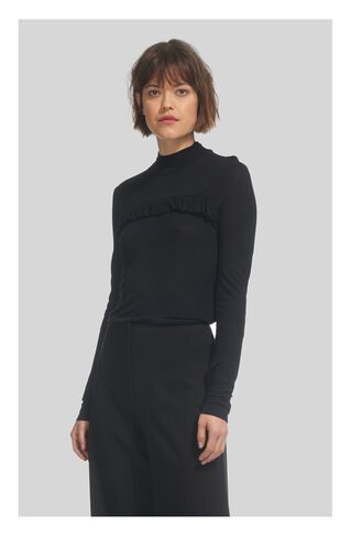 Frill Detail Wool Mix Top, in Black on Whistles