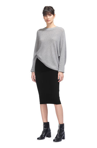 Cashmere Mix Knitted Skirt, in Black on Whistles