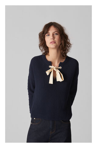 Tie Neck Eyelet Sweater, in Navy on Whistles
