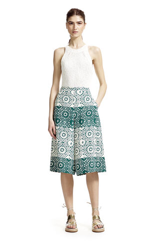 Mosaic Print Silk Culottes, in Green/Multi on Whistles