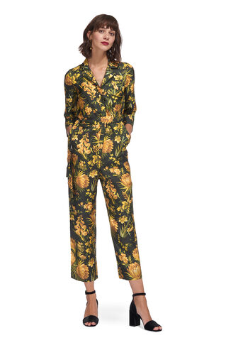 Foxglove Print Silk Jumpsuit, in Yellow/Multi on Whistles