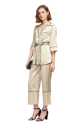 Satin PJ Trouser, in Ivory on Whistles