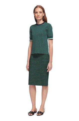 Foulard Jacquard Knit Skirt, in Green/Multi on Whistles