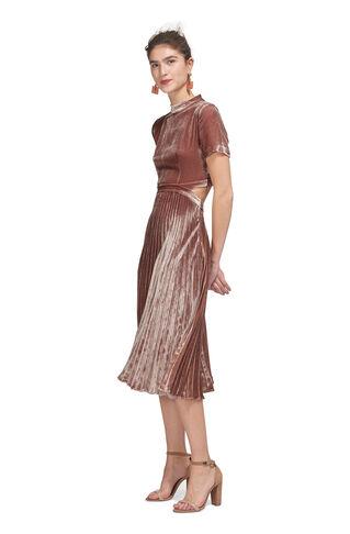 Alexandra Pleat Velvet Dress, in Pink on Whistles