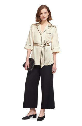 Sylvia Pyjama Silk Shirt, in Ivory on Whistles