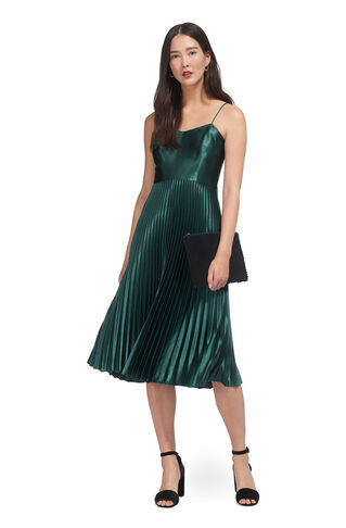 Satin Pleated Strappy Dress, in Mineral Green on Whistles