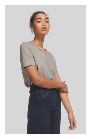 Rosa Double Trim Tshirt, in Grey Marl on Whistles