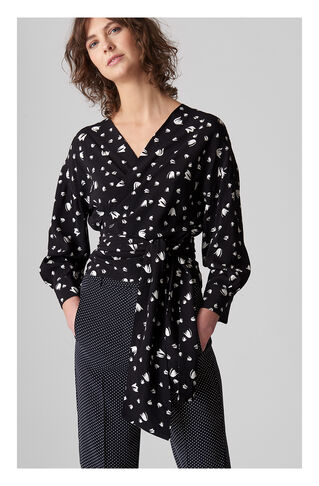 Serena Mini Tulip Wrap Top, in Navy/Multi on Whistles
