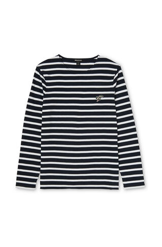 Breton Long Sleeve Patched Tee, in Navy on Whistles