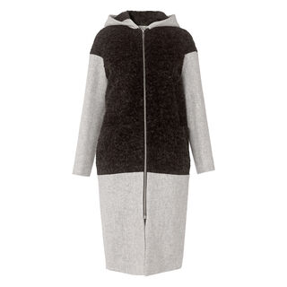 Anna Hooded Boucle Panel Coat, in Grey Marl on Whistles