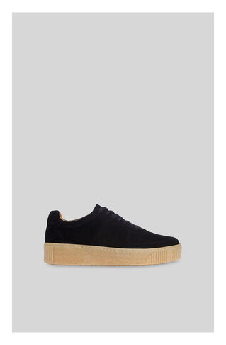 Abbey Suede Deep Sole Trainer, in Black on Whistles