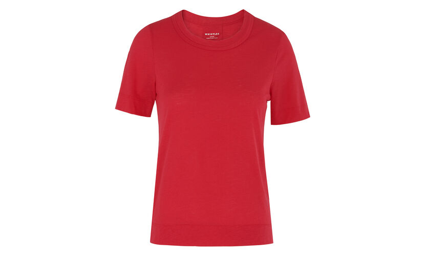 Rosa Double Trim Tee, in Raspberry on Whistles