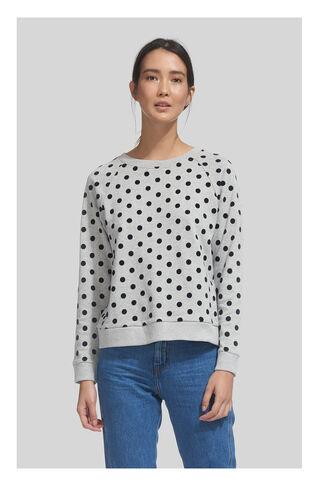 Flocked Spot Sweatshirt, in Grey Marl on Whistles