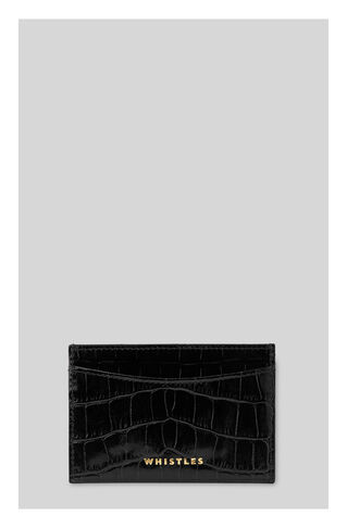 Shiny Croc Cardholder, in Black on Whistles