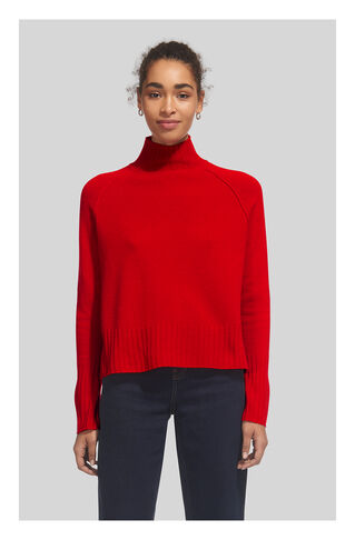 Funnel Neck Wool Knit, in Red on Whistles
