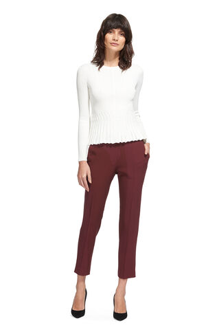 Anna Elasticated Waist Trouser, in Burgundy on Whistles