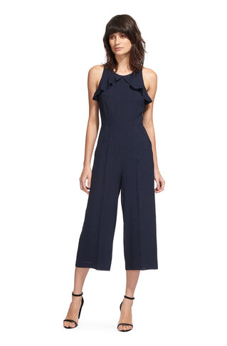 Mae Frill Jumpsuit, in Navy on Whistles