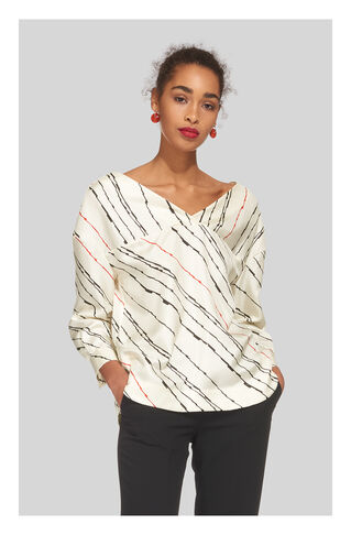 Lightning Print Silk Top, in Multicolour on Whistles